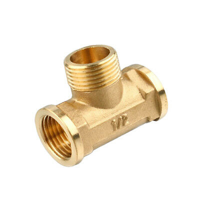 "1/2"" Copper Brass Tee Fitting Tube Connector T-Junction Female Male Female"