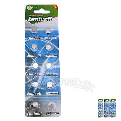 30 pcs AG3 SR41SW LR736 GP192 SR41 1.5V Alkaline Button Cell Battery EuniCell