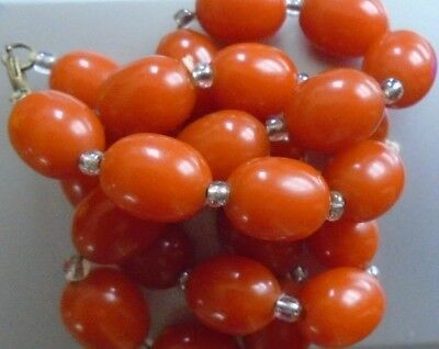 Simichrome tested Antique Art Deco Cherry Amber  Bakelite Beads Necklace