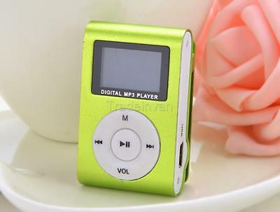 Green Mini MP3 Player Clip USB FM Radio LCD Screen Support for 32GB TIN1