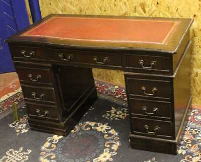 1960's Good Mahogany Pedestal  Desk with Red leather top inset
