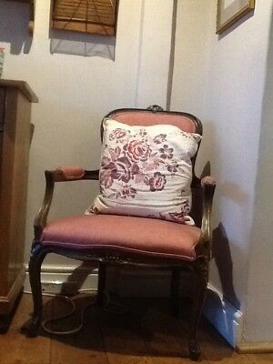 A Fine Pair of French Antique Bergere chairs reupholstered collect Ashford,Kent