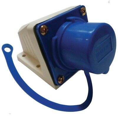 230 Volt Blue 16 Amp 3 Contact High Current INLET Wall Mount Socket & Dustcap