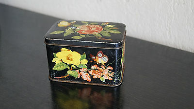 Vintage Blechdose 12 MB Container made in Great Britain Blumen
