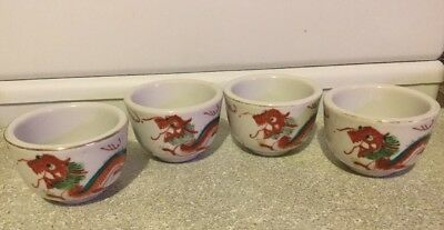 4 Vintage Asian Chinese Japanese Tea Cups with Hand Painted Red Dragon Design