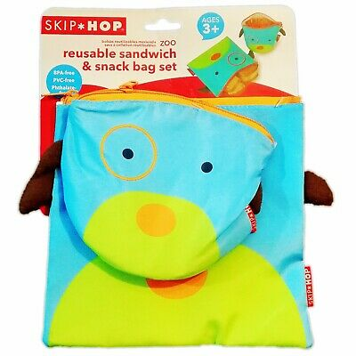 Baby Kids Children Skip Hop Zoo Reusable Bento Lunch Sandwich and Snack Bag Set