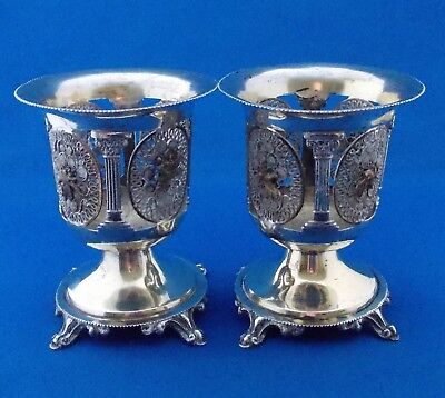ANTIQUE PAIR of OTTOMAN SILVER GILT SPOON HOLDERS -19th. Century - 369 grams.