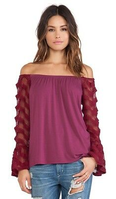 9a12a3198db16 VAVA by Joy Han Off-The-Shoulder Colleen Top Burgundy NWT  85 Size M