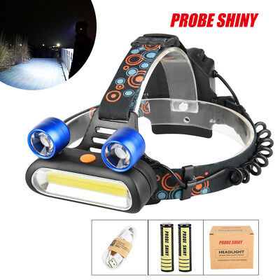 80000LM LED+COB Headlamp Headlight Rechargeable Light+USB Cable+2X18650 Battery