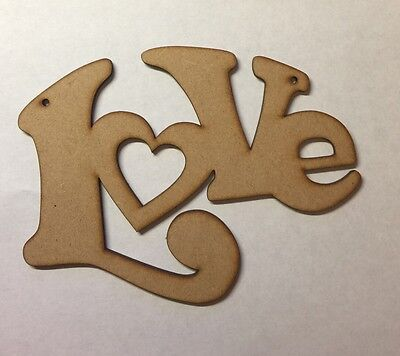 Wooden Love Valentines Laser Cut 3mm Thick Mdf Gift Blank Sign