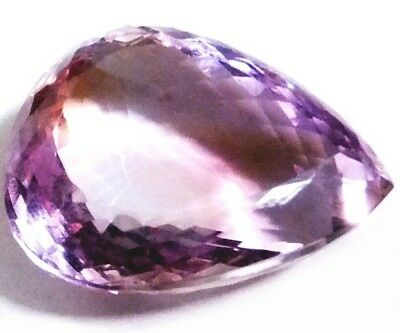 NATURAL BOLIVIAN  PEAR-CUT AMETRINE GEMSTONE LOOSE LARGE  27 x 22 mm - 46 CT.