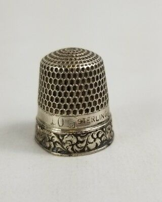 Vintage Sterling Silver Etched Stamped Filigree Thimble #10