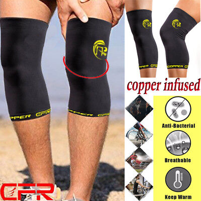 Copper Compression Knee Sleeve Brace Fit Support Leg Arthritis Pain Relief S-XXL