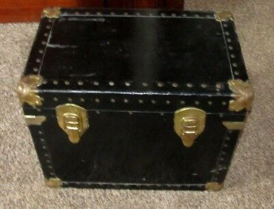 Vintage Medium Size Book Trunk Flat Top Storage Box Chest Leather Handles
