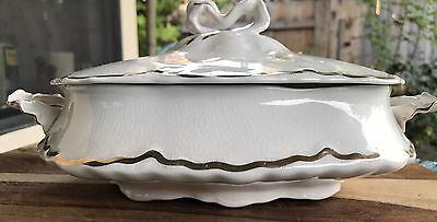 W S George Radisson Casserole Dish With Lid Early 1900's White,Gold HTF Antique