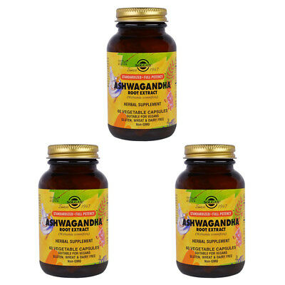 3X Solgar Ashwagandha Root Extract Herbal Supplement Daily Body Care Healthy
