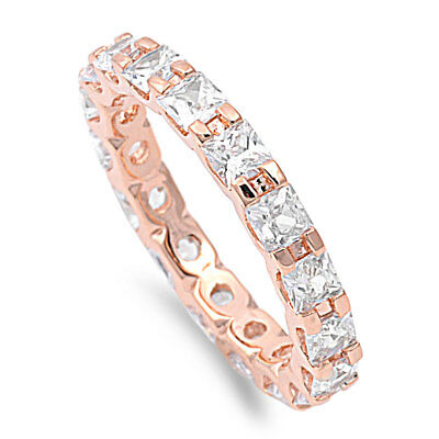 Princess Cut Rose Gold Eternity Wedding Band .925 Sterling Silver Ring Size 4-12
