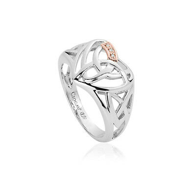 NEW Clogau Silver & Rose Gold Eternal Love Diamond Heart Ring £80 off! SIZE Q