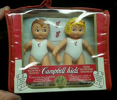 "NEW CRAFT 1995 5"" Vinyl CAMPBELL'S SOUP KIDS DOLLS in Carrying Case Boy & Girl"