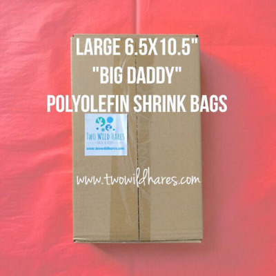 """500-LARGE Polyolefin Shrink Bags, 6.5x10.5"""", 75g, Fits 4"""" Bath Bombs & More, USA"""