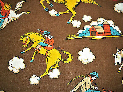 Vintage cowboy old west barn bronco mid century cotton fabric curtains panels !!
