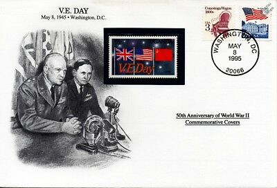 WWII 1945 Victory In Europe VE Day Eisenhower Stamp Cover USA Danbury