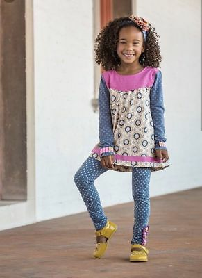 Matilda Jane BY DESIGN Leggings 12 Girls Blue Pink Polka Dot Make Believe NWT
