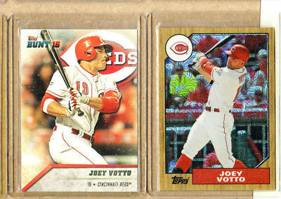 Joey Votto-2 Card Lot-1 2016 Topps Bunt+1 2017 Topps Chrome Refractor-Mint-Reds