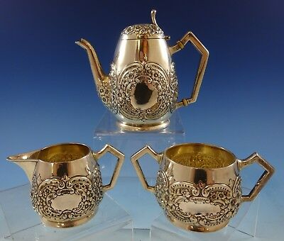 Repousse by W. J. Braitsch Sterling Silver Demitasse Set 3pc  (#2485)