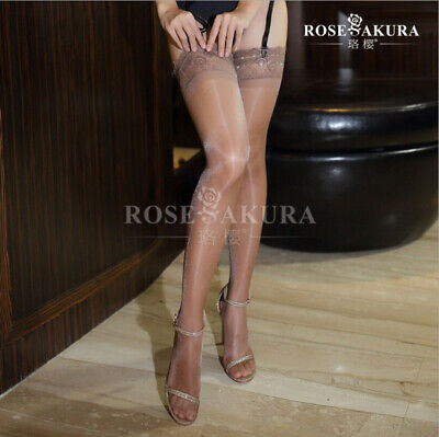 ee8ea380895 Womens Glossy Ultra-thin Shiny Sheer Lace Top Thigh High Silk Stockings  Hold Ups
