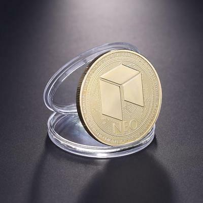 Zinc Alloy Gold Plated NEO Non-currency Bitcoin Commemorative Coin Gift+Case