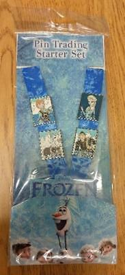 Disney Pin Frozen Neck Lanyard and Starter Set w/ Anna Elsa Olaf Kristoff Sven