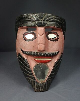 Hand carved Vintage Convite Ceremonial Dance Mask from Guatemala