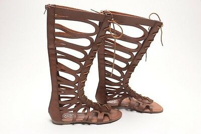 40058cd03c8 REBELS GLADIATOR SANDALS Shoes Flats Brown Woven Strappy Buckles Zip ...