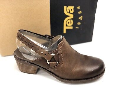 e1930820d944fa Teva Women s FOXY CLOG LEATHER BROWN 1013674 Casual Slip On Heel Strappy  Booties