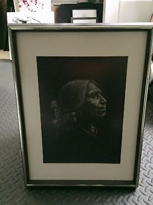Original Scratchboard Native Navajo Man SAMMY SANDOVAL