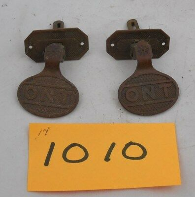 Pair Antique 1880s Clark ONT Spool Cabinet Brass Pulls (1010)