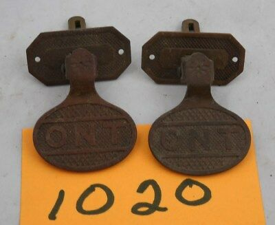 Pair Antique 1880s Clark ONT Spool Cabinet Brass Pulls (1020)