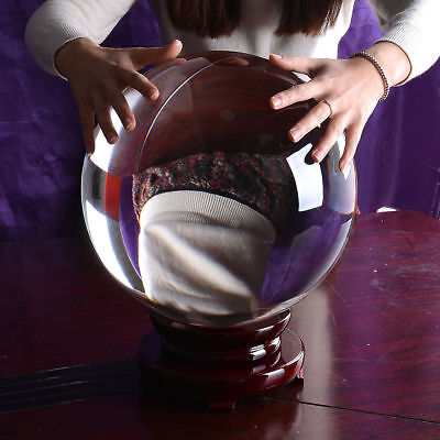 Large Clear Glass Crystal Ball Paperweight Healing Sphere Photo Prop Gift 250mm