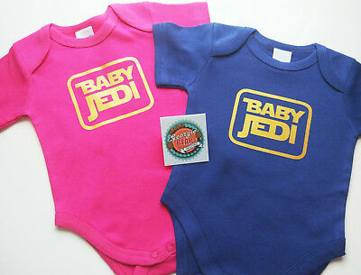 Star Wars BABY JEDI Romper , Cotton one-piece, Custom printed. Hot pink or Navy