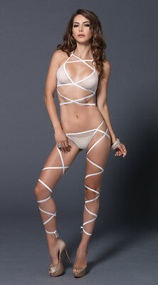 One Size Fits Most Womens Wrap Around Fishnet Halter And G-sting Set, Sexy