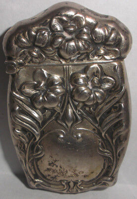 Antique Art Nouveau Sterling Silver Match Safe Case Vesta Box Repousse Floral