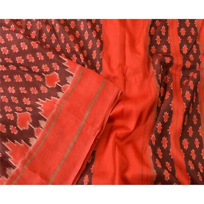 Sanskriti Vintage Indian Saree Hand Woven Patola Sari Fabric Pure Silk Soft Red