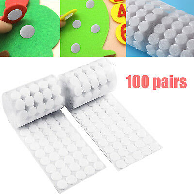 100 Pairs 20mm Hook and Loop points Round self-adhesive dots Stickers White