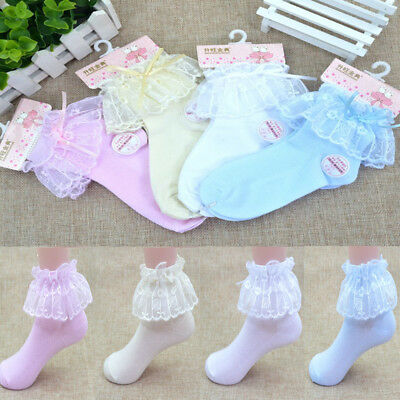 Princess Toddler Kids/Baby/Girls Vintage Lace Bow Ruffle Frilly Ankle Socks