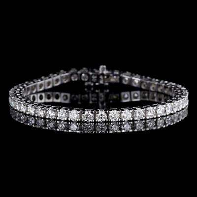 """9Ct Diamond 14K White Gold Finish 7.5"""" Wedding Link Tennis Necklace Over Silver"""