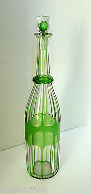 Antique St Louis/Val St Lambert Crystal Glass Hand Cut Lime Green Wine Decanter