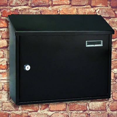 Black Large Crete Letter Box Lockable Wall Mounted Post Mail Box / Letter Box