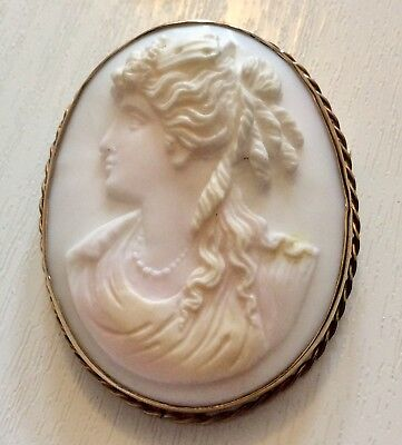 Beautiful Large Antique Victorian Solid 9 Carat Gold Cameo Brooch 9CT Gold