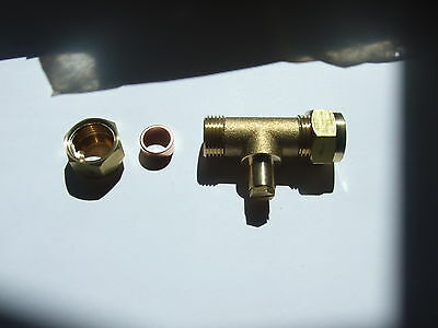 Gas test point 8mm Tee for LPG or natural Gas. Wade Fitting, first quality.